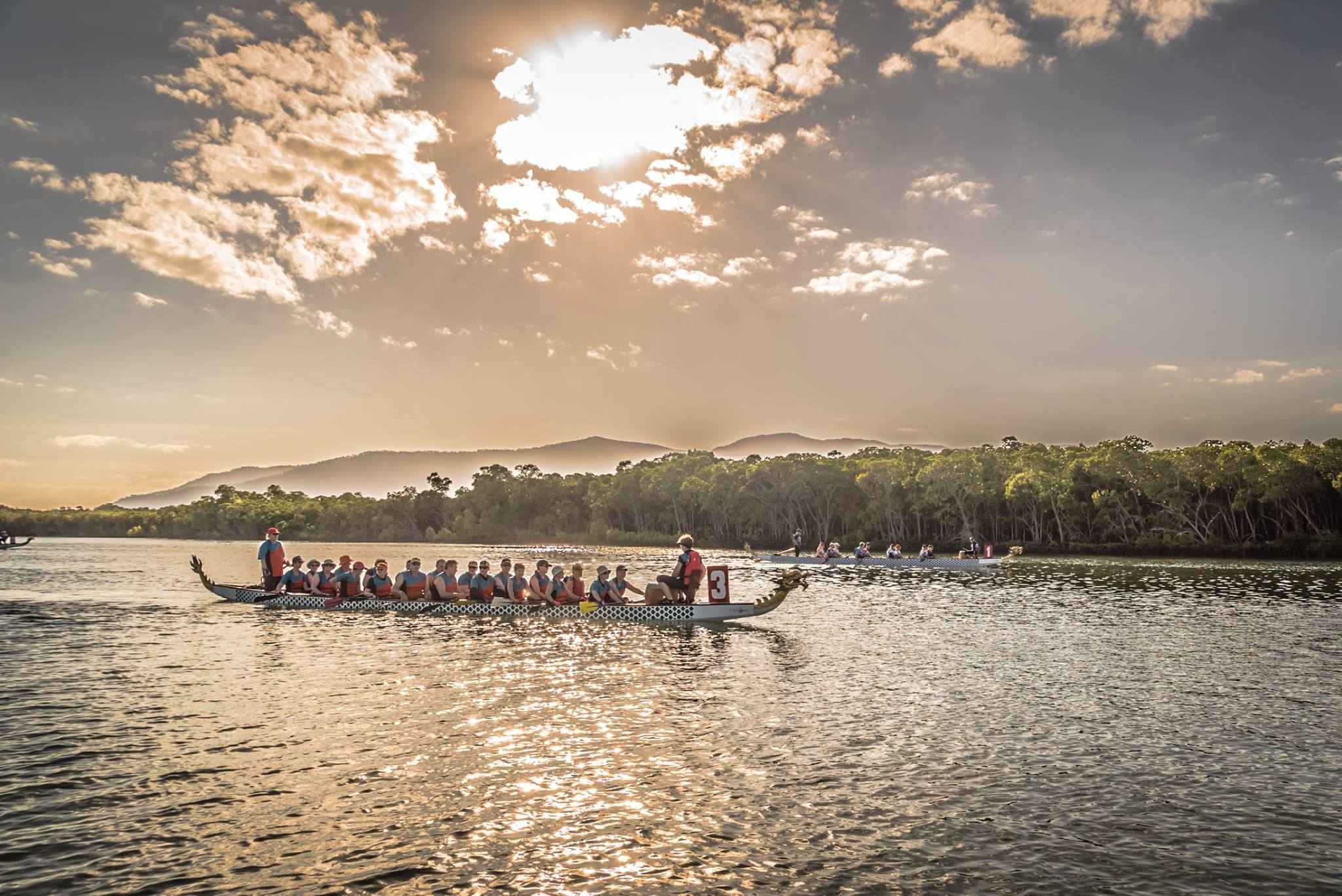 Dragon boats on the inlet